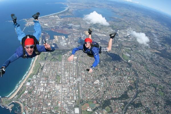 top 5 adrenaline activities in sydney skydive the beach sydney
